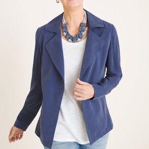 Chico's Soft Twill Drape Jacket Blue 00 Petite 00P